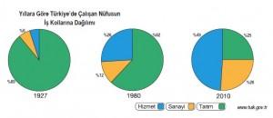 türkiyede çalışan nüfusun iş kollarına dağılımı