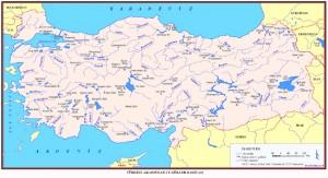 Türkiye denize dökülen akarsu haritası