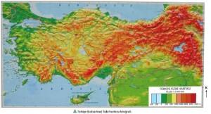 Türkiye kabartma fiziki haritası fotoğrafı