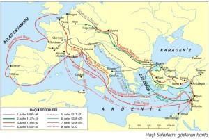 haçlı seferlerini gösteren harita