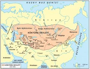 köktürk devleti haritası