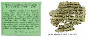 uygur alfabesi ile yazılmış bir metin