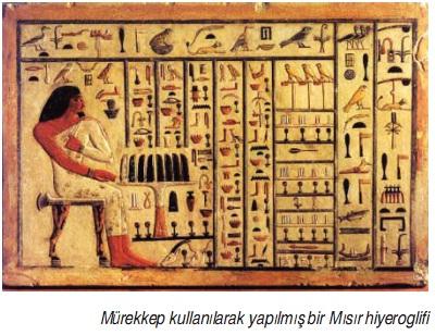 Mürekkep kullanılarak yapılmış bir Mısır hiyeroglifi