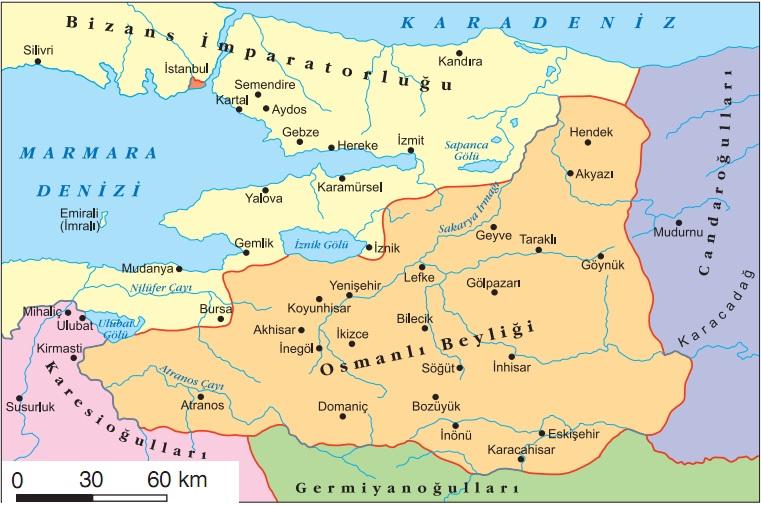 Osmanlı beyliği kuruluş dönemi haritası