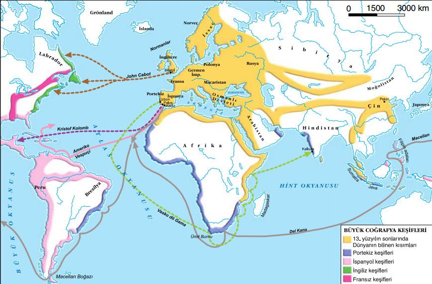 coğrafi keşiflerin yolları haritası