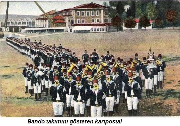 Osmanlı Bando takımını gösteren kartpostal