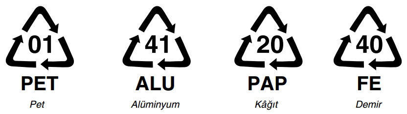 çeşitli maddelere ait geri dönüşüm işaretleri
