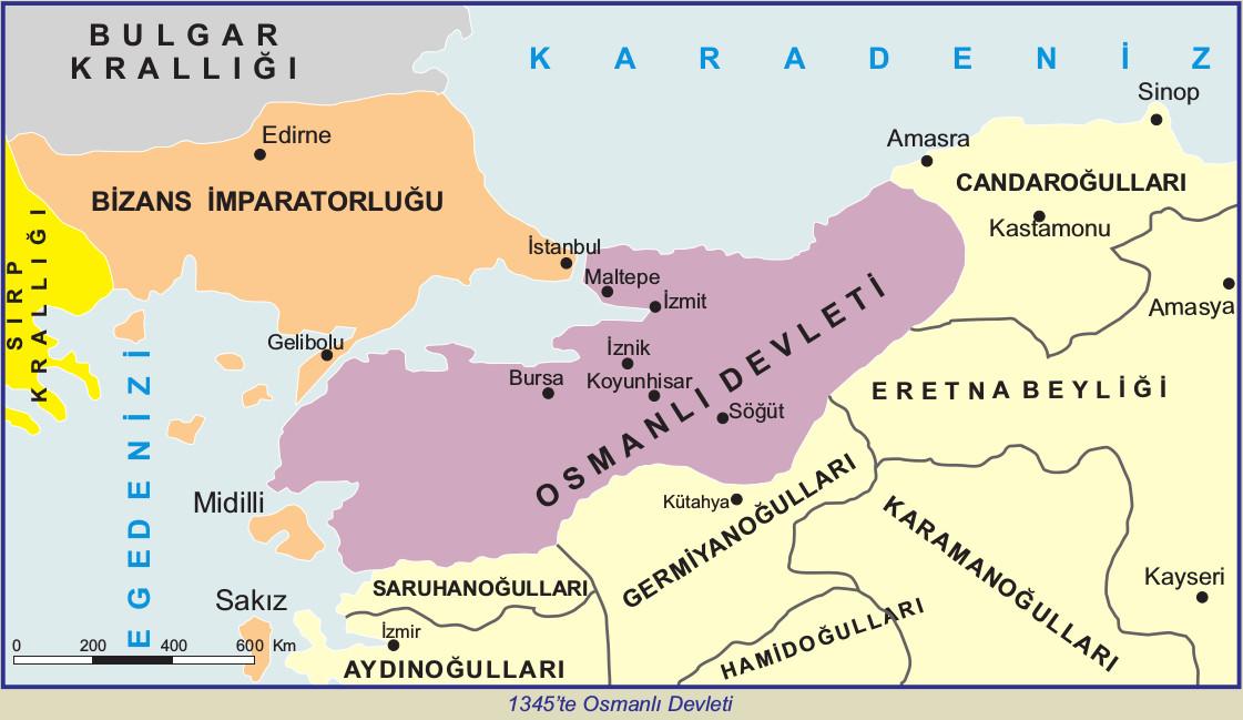1345 yılında osmanlı devleti haritası