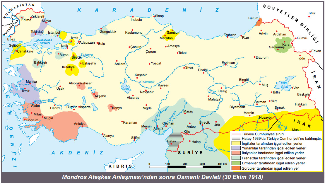 Mondros Ateşkes Anlaşması sonrası osmanlı haritası