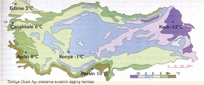 Türkiye Ocak ayı ortalama sıcaklık dağılışı haritası