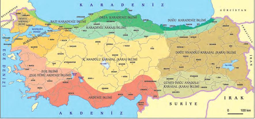 Türkiye iklim tipleri haritası