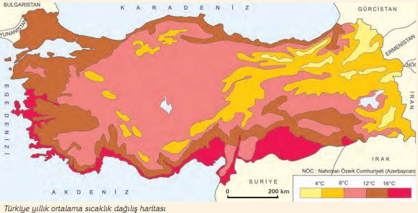 Türkiye ortalama sıcaklık dağılış haritası