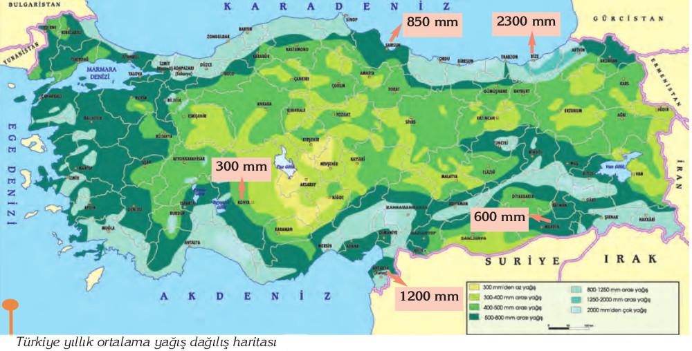 Türkiye ortalama yıllık yağış haritası