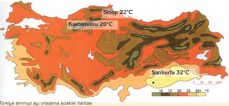 Türkiye temmuz ayı ortalama sıcaklık haritası