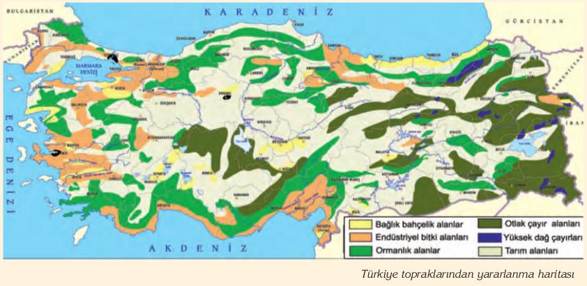Türkiye topraklarından yararlanma haritası