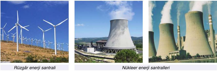 rüzgar ve nükleer enerji santralleri